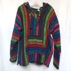 Mexican Baja Rainbow Stripe Hoodie XL